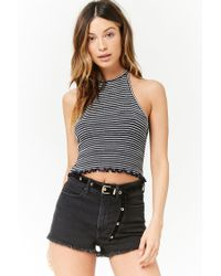 Forever 21 - Blue Smocked Striped Halter Crop Top - Lyst