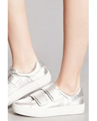 Forever 21 - Metallic J Slides Leather Low-top Sneakers - Lyst