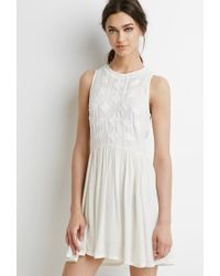 Forever 21 - Natural Embroidered Gauze Dress - Lyst