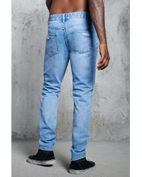 Forever 21 - Blue 's Ankle-zip Slim-fit Jeans for Men - Lyst