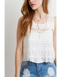 Forever 21 - Natural Crocheted-front Top - Lyst