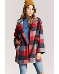 Forever 21 - Red Buffalo Plaid Snap-button Coat - Lyst