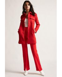 Forever 21 - Red Twill Button Coat - Lyst