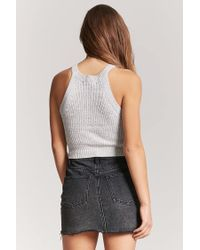 Forever 21 - Gray Marled Sweater-knit Top - Lyst