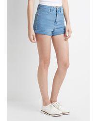 Forever 21 | Blue Mid-rise Denim Shorts | Lyst