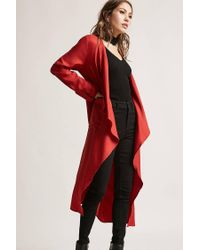Forever 21 - Red Longline Draped Jacket - Lyst