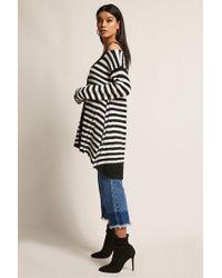 Forever 21 Black Stripe High-low Cardigan