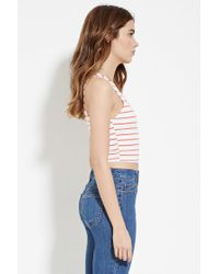 Forever 21   Red Stripe Crop Top   Lyst