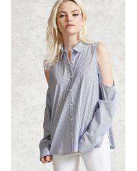 Forever 21 - Blue Striped Open-shoulder Shirt - Lyst