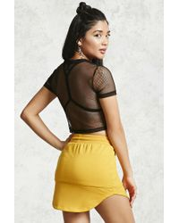Forever 21 - Black Cropped Fishnet Tee - Lyst