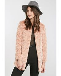 Forever 21 - Pink Textured Faux Fur Coat - Lyst