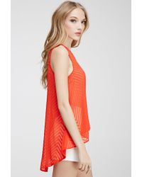 Forever 21 - Chevron Textured Chiffon Blouse - Lyst