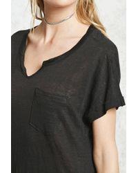 Forever 21 | Black Slub Knit High-slit Dress | Lyst
