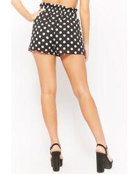 Forever 21 - Black Chiffon Polka-dot Paperbag Shorts - Lyst