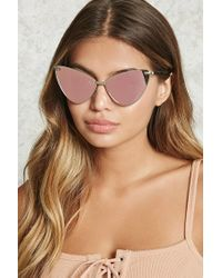 Forever 21 - Multicolor Mirrored Cat Eye Sunglasses - Lyst