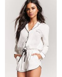 c3f0806ac1fb Forever 21 Sleep All Day Pajama Romper in Natural - Lyst