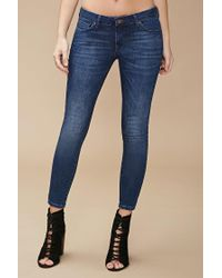 Forever 21   Blue Sanded Wash Low-rise Skinny Jeans   Lyst