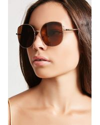 Forever 21 - Brown Metal Square Sunglasses - Lyst