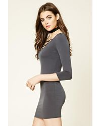 Forever 21 | Gray Strappy Crisscross-front Dress | Lyst