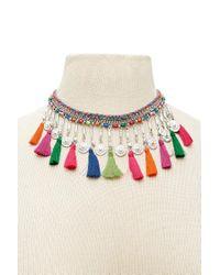Forever 21 - Multicolor Colorful Tassel Choker - Lyst