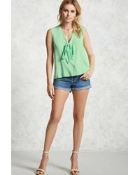 Forever 21 | Green Self-tie Button-down Top | Lyst