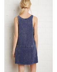 Forever 21 - Blue Drawstring Mineral Wash Dress - Lyst