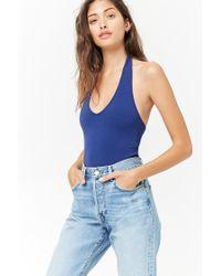 Forever 21 - Blue Fitted Halter Bodysuit - Lyst