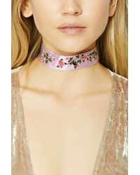 Forever 21 - Pink Women's Floral Embroidered Denim Choker Necklace - Lyst