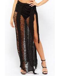 Forever 21 - Black Ladder Cut Maxi Skirt - Lyst