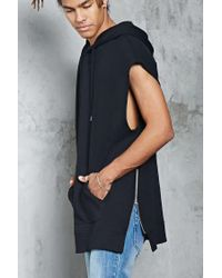 Forever 21 - Black French Terry Zip-hem Hoodie for Men - Lyst