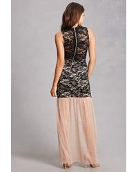 Forever 21 - Black Illusion Floral Mermaid Gown - Lyst
