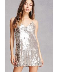 b5849321c4f Forever 21 Sequin Cami Shift Dress in Metallic - Lyst