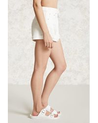 Forever 21 - White Women's Distressed Cuffed Denim Shorts - Lyst