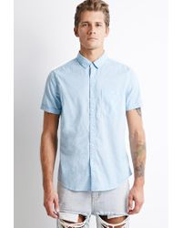 Forever 21 | Blue Textured Pocket Shirt for Men | Lyst