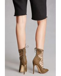 Forever 21 Green Ankle Wrap Heels