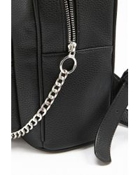 Forever 21 - Black Faux Leather Chain Backpack - Lyst