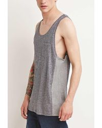 Forever 21 - Gray Marled Colorblock Tank for Men - Lyst