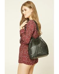Forever 21 - Black Faux Leather Cutout Bucket Bag - Lyst