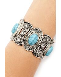 Forever 21 - Metallic Faux Stone Stretch Bracelet - Lyst