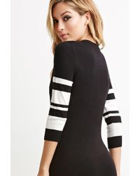 Forever 21 - Black Striped-sleeve Bodycon Dress - Lyst