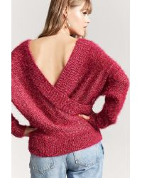 Forever 21 - Red Fuzzy Knit Surplice Sweater - Lyst
