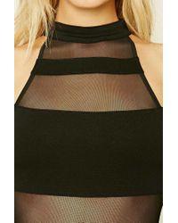 Forever 21 - Black Mesh-paneled Bodysuit - Lyst