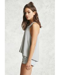 Forever 21 - Gray Ribbed Trapeze-hem Tank - Lyst