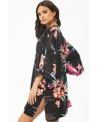 Forever 21 - Black Floral Print Open-front Kimono - Lyst