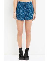 Forever 21 - Blue Geo Print Drawstring Shorts - Lyst