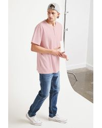 Forever 21 - Pink 's Classic Henley Tee Shirt for Men - Lyst