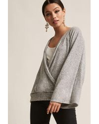 Forever 21 - Gray Marled Surplice Top - Lyst