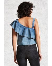 Forever 21 - Blue Denim One-shoulder Top - Lyst