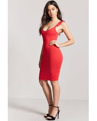 dcee66e1748f Forever 21 Ruffle Bodycon Dress in Red - Lyst