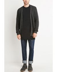 Forever 21 - Gray Marled Patch-sleeve Cardigan for Men - Lyst